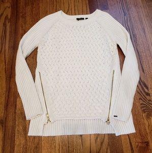 Dex cream woven sweater hi-low